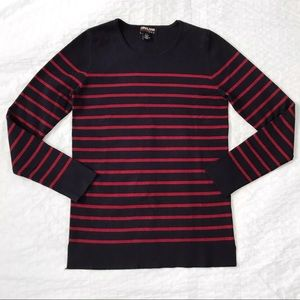 Navy blue and burgundy striped sweater